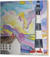 Lighthouse At Dawn Wood Print