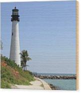 Lighthouse At Key Biscayne Florida  Wood Print