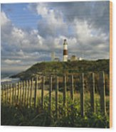 Lighthouse At Montauk With Dramatic Sky Wood Print