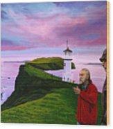 Lighthouse At Mykines Faroe Islands Wood Print