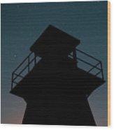 Lighthouse At Night Prince Edward Island Wood Print