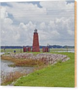 Lighthouse At Port Kissimmee On Lake Tohopekaliga In Central Florida   Wood Print