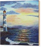 Lighthouse At Sunset Wood Print