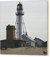Lighthouse At White Fish Point Michigan Wood Print