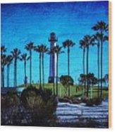 Lighthouse, Blue Lb Wood Print