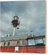 Lighthouse-boat Wood Print