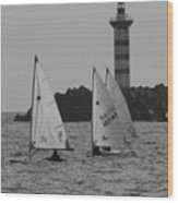Lighthouse Boats Wood Print