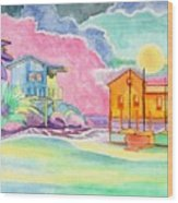 Lighthouse Cove Wood Print
