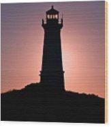 Lighthouse Eclipse Wood Print