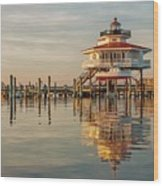 Lighthouse Glow And Reflection  Wood Print