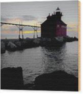 Lighthouse Haze Wood Print