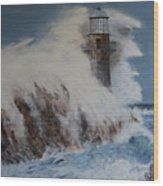 Lighthouse In A Storm Wood Print