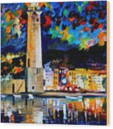 Lighthouse In Crete - Palette Knife Oil Painting On Canvas By Leonid Afremov Wood Print