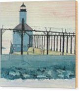 Lighthouse In Michigan City Wood Print