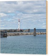 Lighthouse In Michigan Wood Print