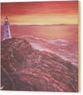 Lighthouse In Newfoundland Wood Print