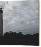 Lighthouse In Silhouette Wood Print