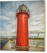 Lighthouse In South Haven Wood Print