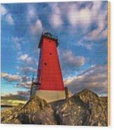 Lighthouse Manistique Sunset -5350 Wood Print
