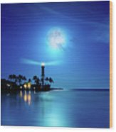 Lighthouse Moon Wood Print by Mark Andrew Thomas
