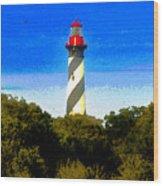 Lighthouse Of Saint Augustine Wood Print