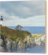 Lighthouse On A Jetty. Wood Print