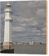 Lighthouse On A Sunny Day. Wood Print