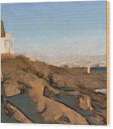 Lighthouse On The Ocean Wood Print