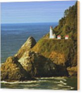 Lighthouse On The Oregon Coast Wood Print