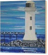 Lighthouse On The Shannon Wood Print