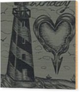 Lighthouse Out In The Sea Wood Print