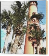Lighthouse Palms Wood Print