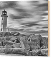 Lighthouse Peggys Cove - Black And White Wood Print