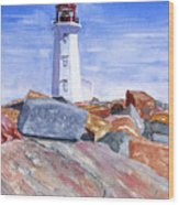 Lighthouse Peggys Cove Wood Print