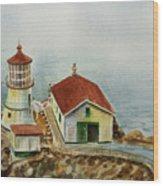 Lighthouse Point Reyes California Wood Print