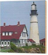 Lighthouse - Portland Head Maine Wood Print