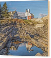 Lighthouse Reflection Wood Print
