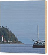 Lighthouse Sailing Vancouver Island Bc Wood Print