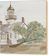 Lighthouse Sketch Wood Print