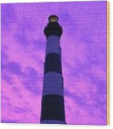 Lighthouse Sunset - Digital Art Wood Print