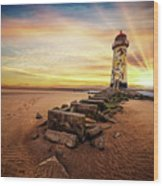 Lighthouse Sunset Wales Wood Print