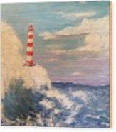 Lighthouse Under Lavender Sky Wood Print
