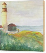 Lighthouse-watercolor Wood Print