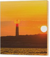 Lighthouse With Flare Wood Print