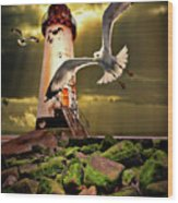 Lighthouse With Seagulls Wood Print by Meirion Matthias