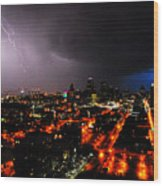 Lighting Over Kansas City Wood Print
