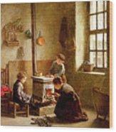 Lighting The Stove Wood Print
