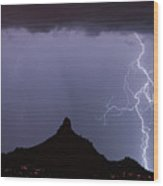 Lightnin At Pinnacle Peak Scottsdale Arizona Wood Print