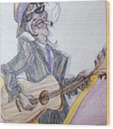 Lightnin Hopkins Blues Sketch Wood Print