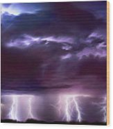 Lightning Above And Below Wood Print